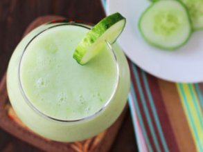 Hemp refreshment yoghurt drink with cucumber